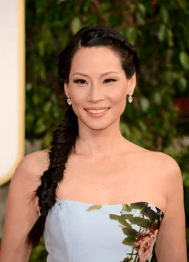 Lucy Liu headshot makeup and hair Golden Globes 2013