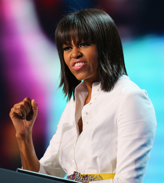 Michelle Obama wearing  Alexander McQueen Resort 2011 Victorian Bustle Cotton Piquet Shirt in white for Kid's Inagural Concert
