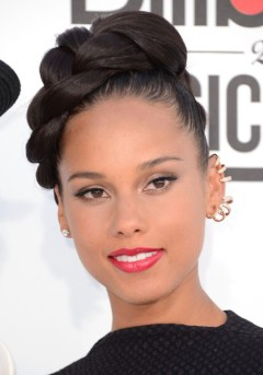 Alicia Keys braided updo