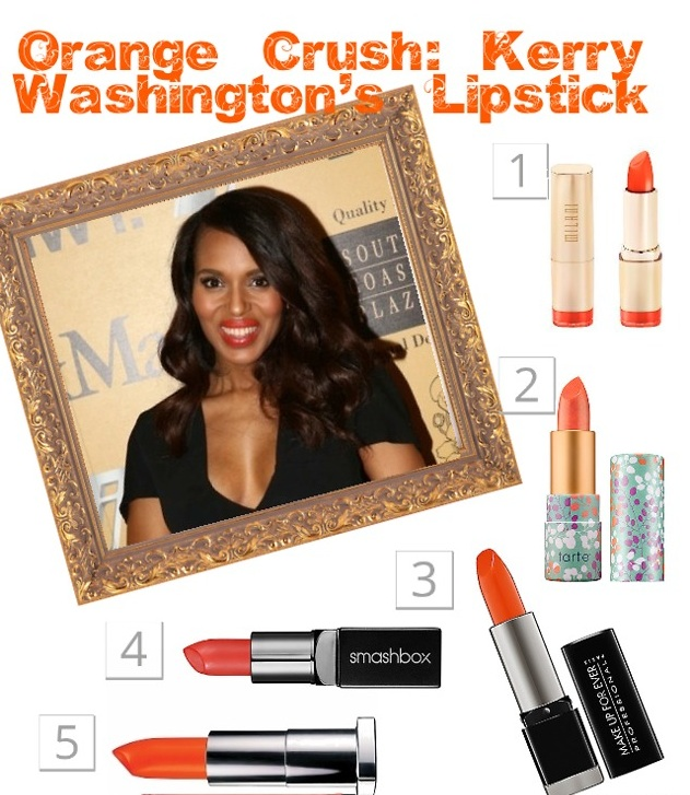 Kerry Washington orange lipstick layout