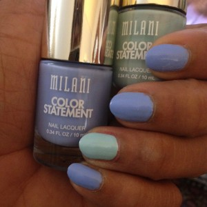 Milani Statement Lacquer swatch -- Mint Crush and Peri Wink