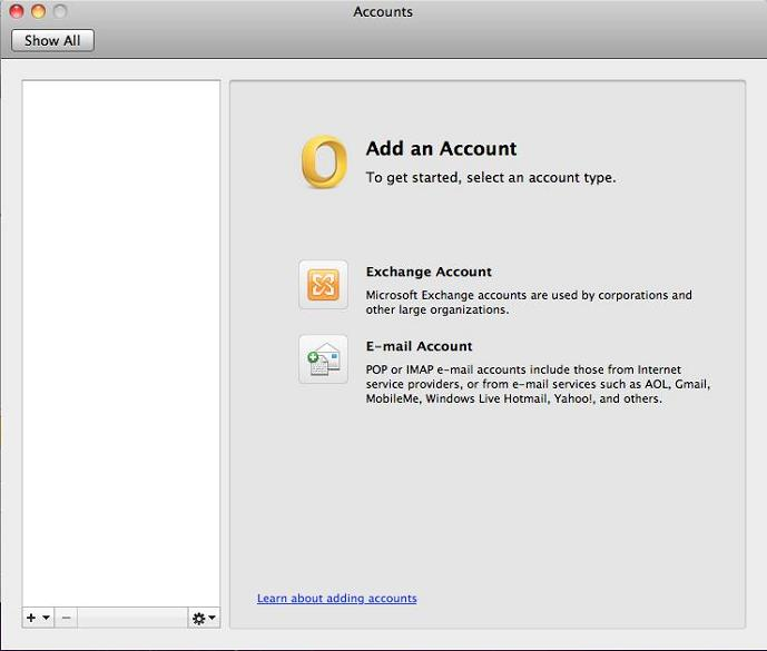 Setting Up Outlook 2011 for Macintosh Using IMAP - create outlook account