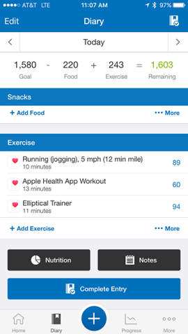 MFP Exercise from Watch 50per