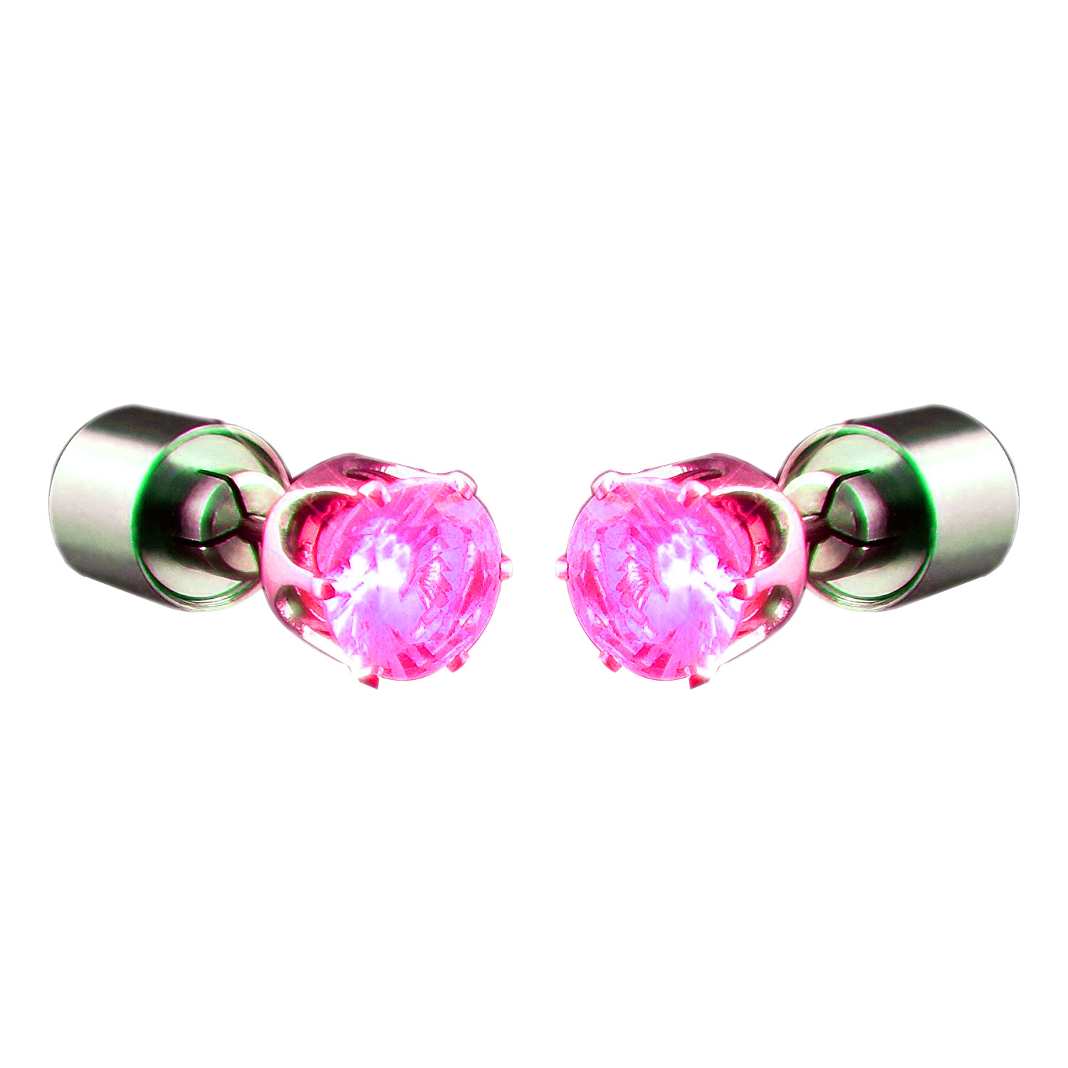 Led Earrings Led Faux Diamond Pierced Earrings Pink