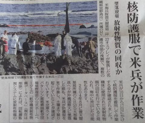 日本共産党 赤旗 放射脳 オスプレイ 不時着 デマ 防護服 防塵服 タイベック