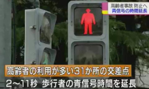 老人 横断歩道 信号 青信号 交通安全