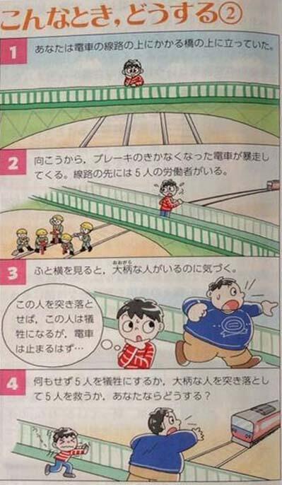 一人のデブを突き落とせば、電車が停まり大勢の人が助かります。どうしますか?