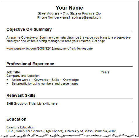 Resume Category None