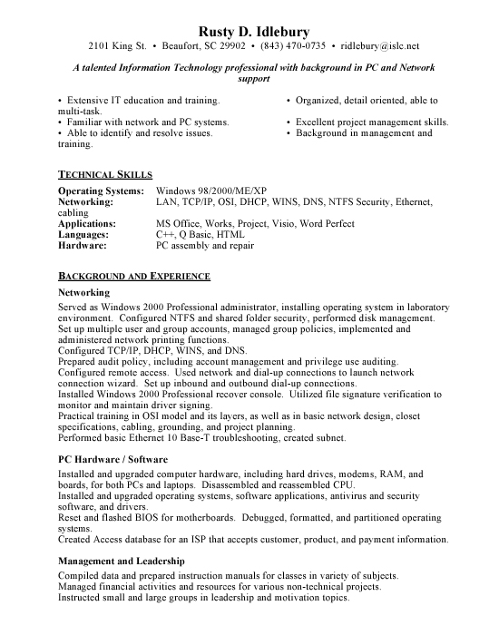 Help Desk Support Resume Sample 401278 Information Technology Resume