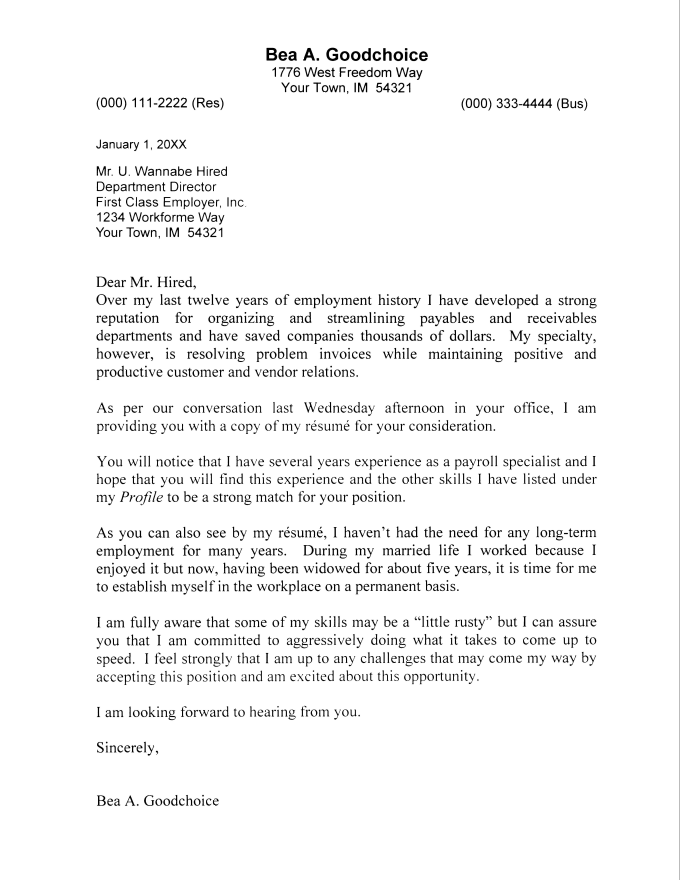 job cover letter template word