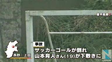 サッカーのゴールが倒れ、19歳の専門学校生の男性が下敷きになり死亡 … 試合後に記念写真を撮る際、数人の仲間と一緒にゴールにぶら下がる → 倒れる - 長野・上田