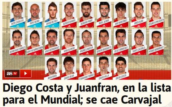 スペイン代表、W杯2連覇に向けた最終メンバー23名を発表