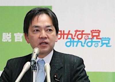 みんなの党・浅尾慶一郎代表、マスコミ関係者から指名を受けアイスバケツチャレンジ → 次の指名を安倍晋三首相に