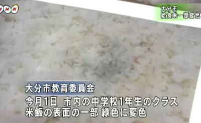 大分市内の2つの中学校で、給食の米飯の表面の一部が緑色に変色 (画像) … 生徒は食べず被害無し、同じ米飯を専門に作っている業者が納入