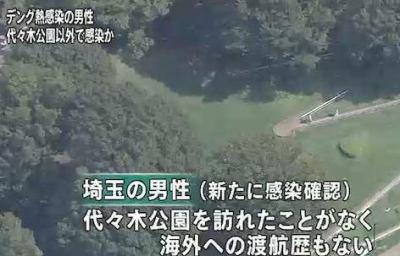海外への渡航歴のない埼玉県の男性がデング熱に感染、新宿中央公園で感染した可能性 … 代々木公園のウイルスと遺伝子型が一致したため、代々木公園から広がったとみられる