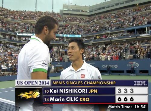 全米オープンテニス、錦織圭敗れて準優勝 … M・チリッチが3-6・3-6・3-6でストレート勝ちで初優勝、日本人初のグランドスラム制覇はならず