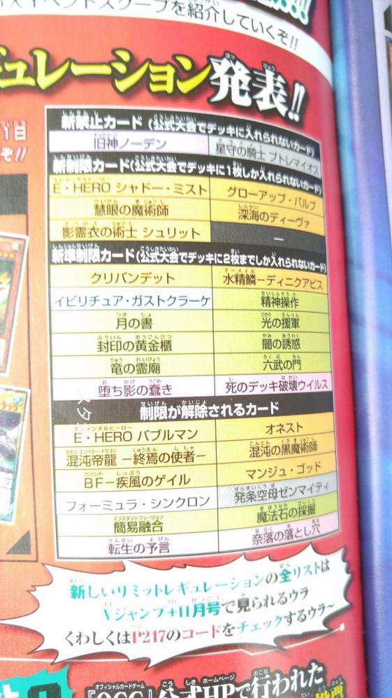 【速報】遊戯王新制限リストwwwwww
