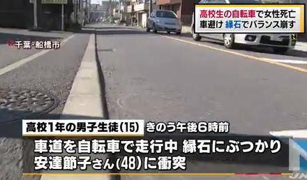 千葉・船橋の男子高校生(15)が自転車を走行中、車道と歩道の間にある縁石に接触→ バランスを崩し、駐車場でゴミ出しをしていた看護師の女性(48)に衝突→ 女性死亡