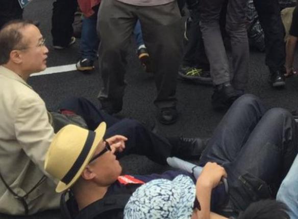 現職の国会議員、民進党・有田芳生氏、道路へ座り込んでデモを妨害