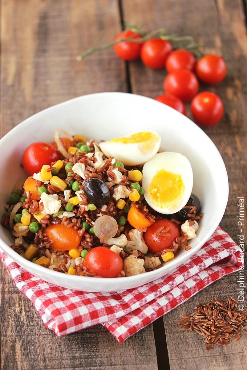 Salade de riz rouge aux petits légumes