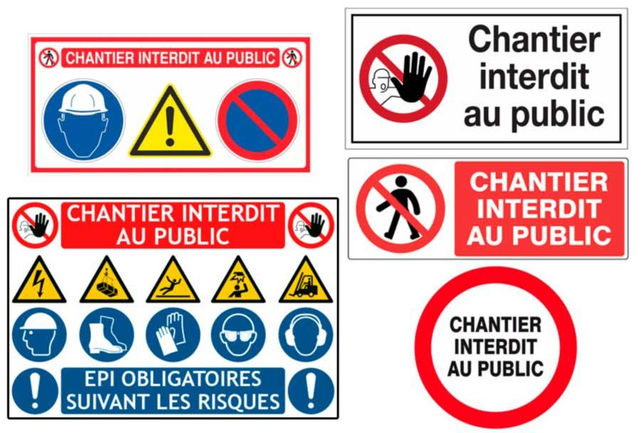 Panneau de chantier interdit au public et EPI