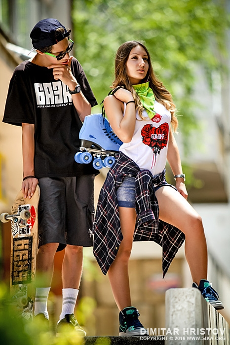 Girl And Boy Sitting Together Wallpaper Teenage Girl And Boy With Skateboards And Roller Skates