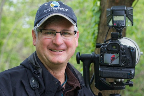 ABA member Steven Shaddix proudly showing the Scarlet Tanager he just photographed with his SLR rig. The Black Swamp region is a paradise for bird photographers...even those without fancy cameras, as the birds frequently allow stunningly close views.