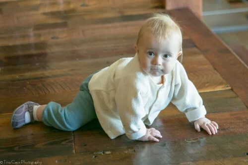 By 6 to 7 months of age babies are beginning to crawl.
