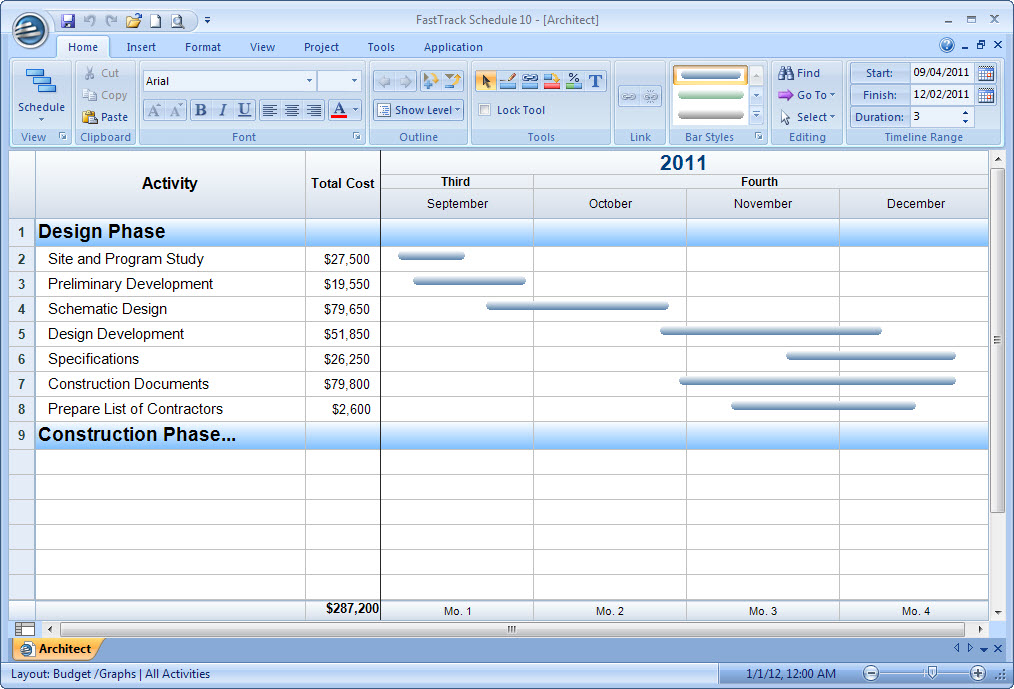 Displaying Project Costs Over Time With Summary Graphs HOW-TO