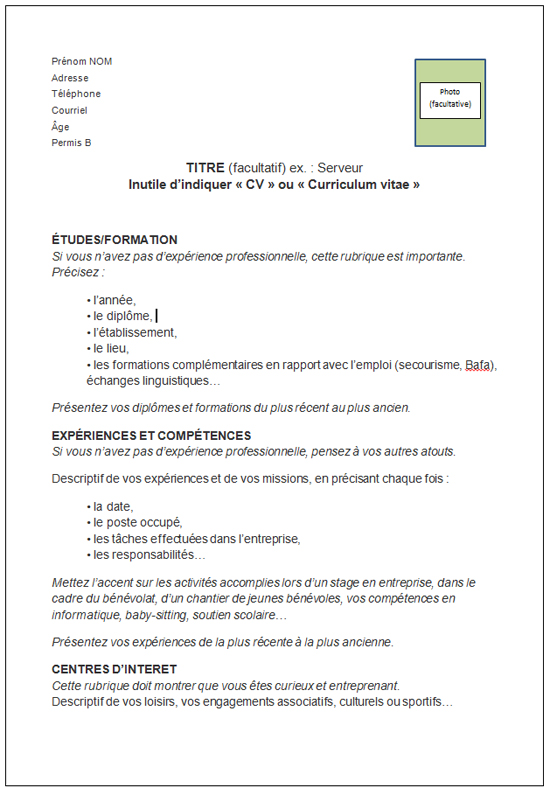 se presenter sur un cv exemple