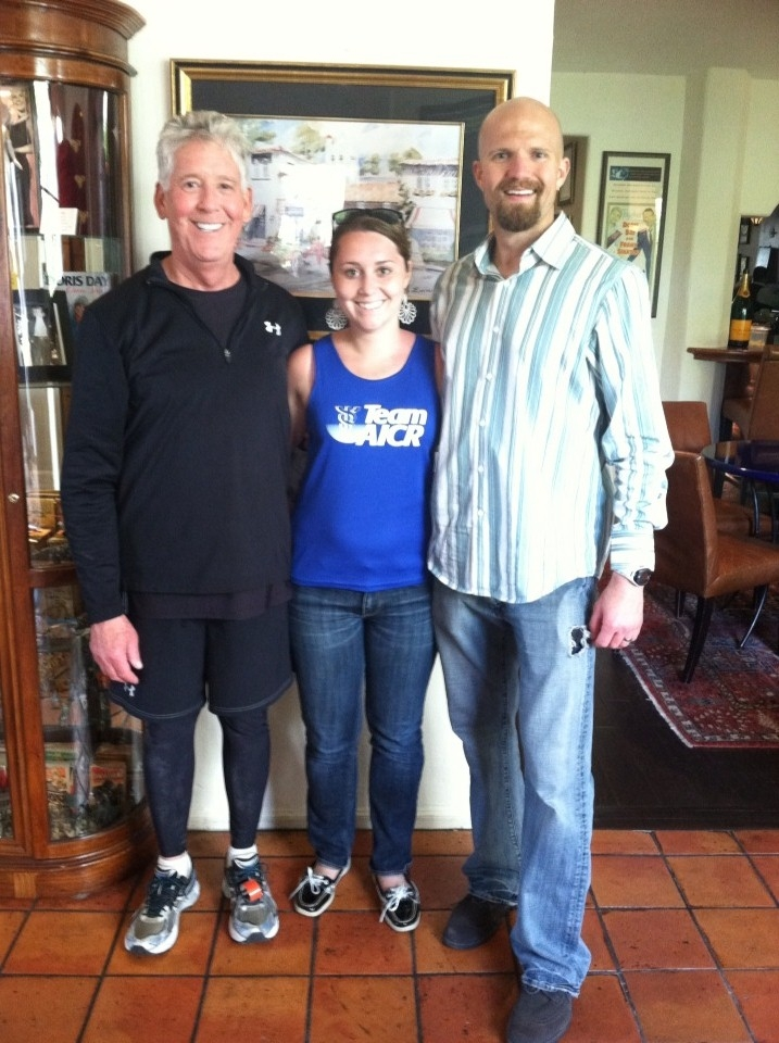 Gordon, Sarah (TeamAICR Coordinator) and Sam, after the Big Sur Marathon