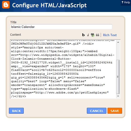 Configure HTML / Javascript box to insert Alhabib islamic widget at Blogspot