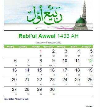 Download Kalender Islam Bulanan: Rabiul Awal 1433 H