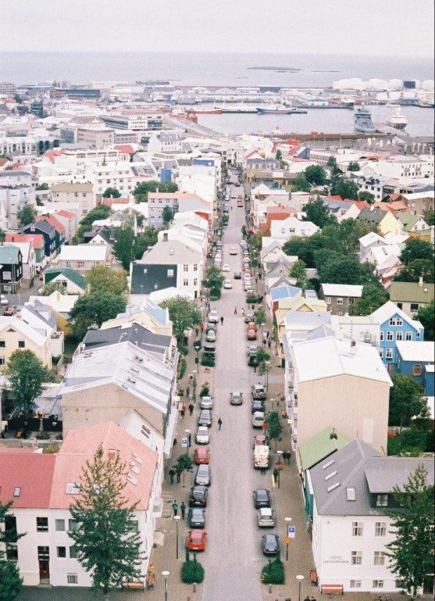 Aerial view of Reykjavik from Hallgrimskirkja Church