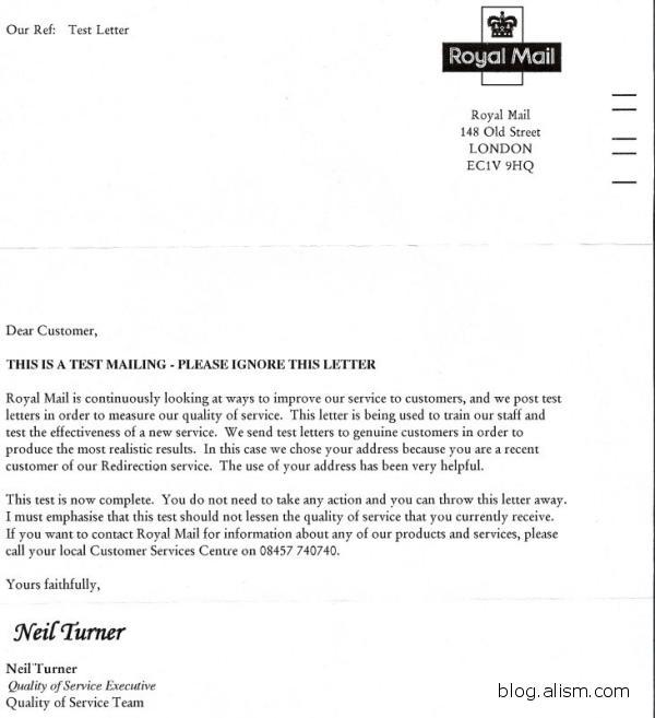 Royal Mail Test Letters « Blogalism