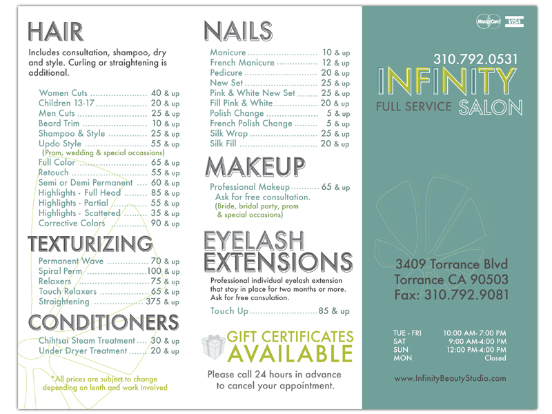 Infinity Salon Brochure - Be Up  Doing