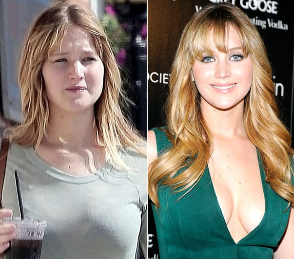 jennifer lawrence with and without makeup