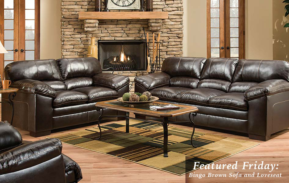 Featured Friday Bingo Brown Sofa and Loveseat American Freight - american freight living room sets
