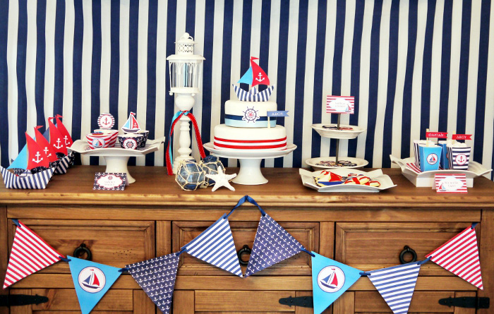 Preppy Nautical Party by Birds Party125nopoms Red White & Blue Guest Dessert Feature