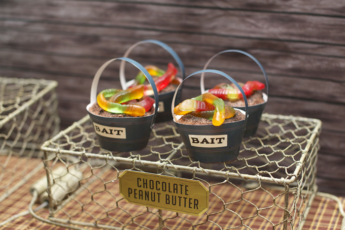 Vintage Fishing Dessert Table Chocolate Peanut Butter Bait Cupcake Reel Er In! Fishing Party