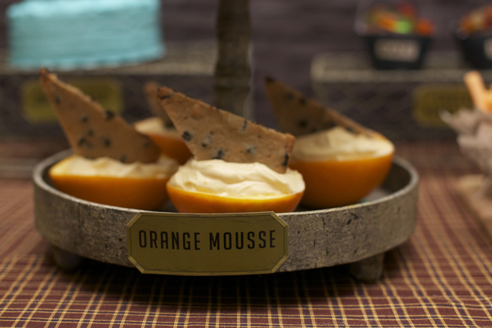 Vintage Fishing Dessert Table Orange Mousse Boats Reel Er In! Fishing Party