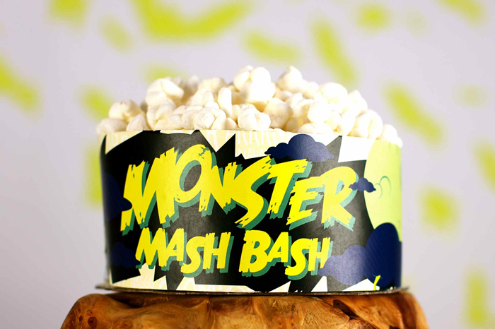 Vintage Monster Movie Halloween Dessert Table Marshmallow Popcorn Cake Halloweekend Countdown: Horror Movie Madness