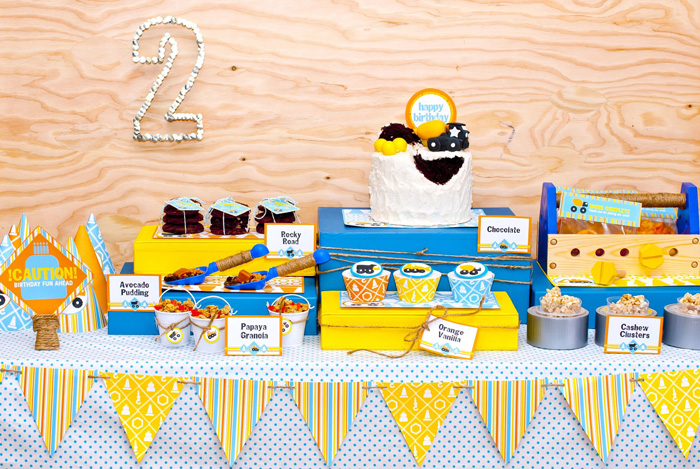 Construction Crew Boy Birthday Dessert Table Overall Construction Crew Guest Dessert Feature