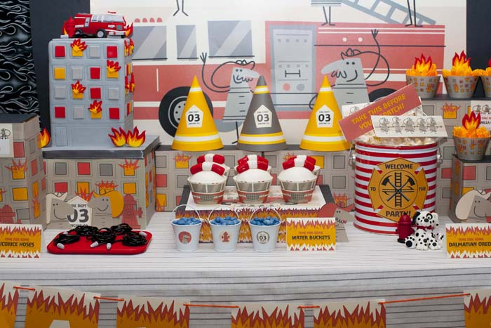 fireman birthday party fire truck dessert table center Five Alarm Guest Dessert Feature