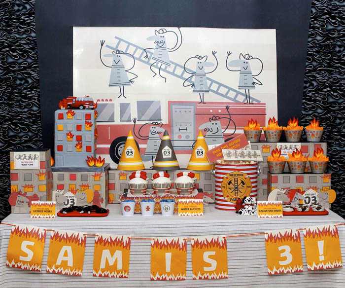 fireman birthday party fire truck dessert table - overall