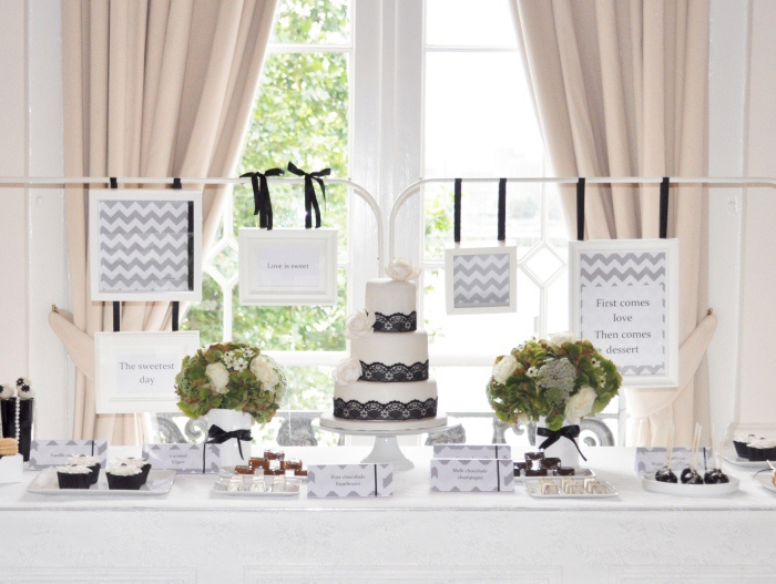 Elegant Black & White Dessert Table