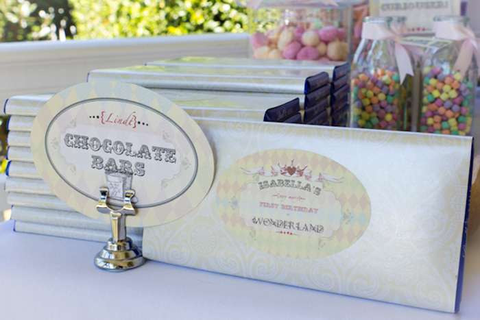 Alice in Wonderland Inspired Dessert Table personalized chocolate bars