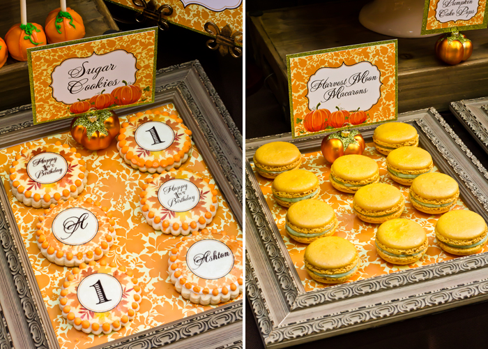 Fall Inspired Little Pumpkin Dessert Table First Birthday Macarons