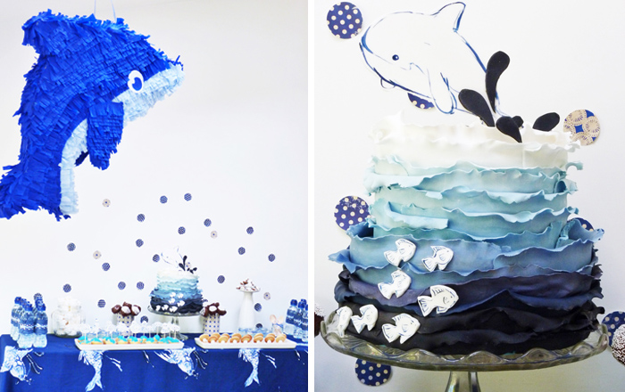 Ocean Inspired Dessert Table blue ombre cake and whale pinata