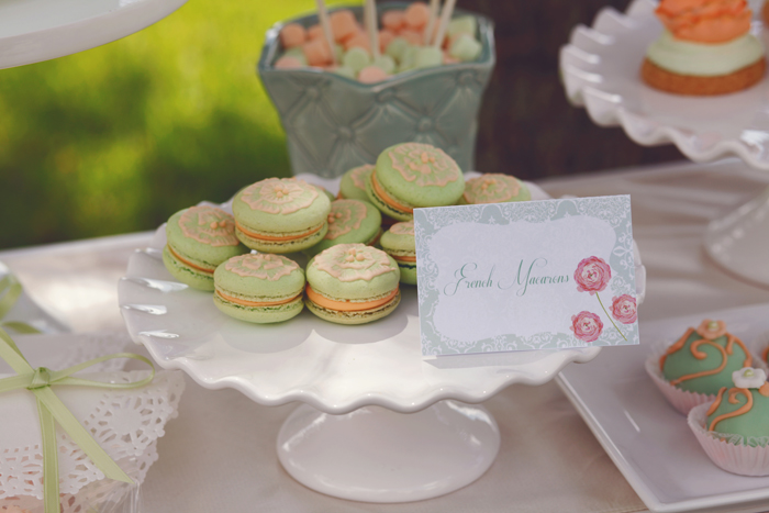 Rustic Engagement party dessert table pistachio macarons
